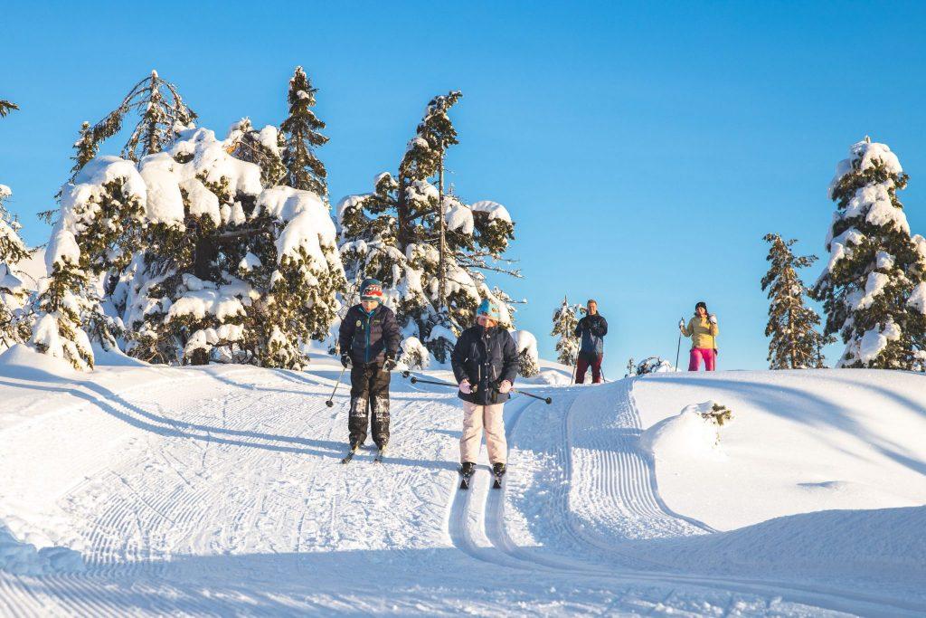 Familie på skitur på Knuten. Foto.